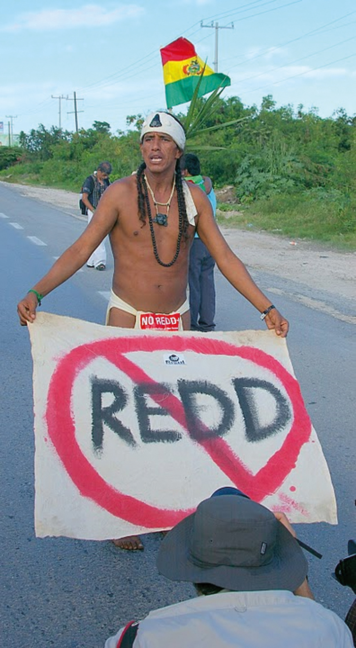 Indigenous activist protesting the REDD market-based forest protection scheme