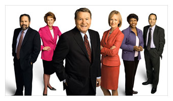 PBS NewsHour anchors, led by Jim Lehrer