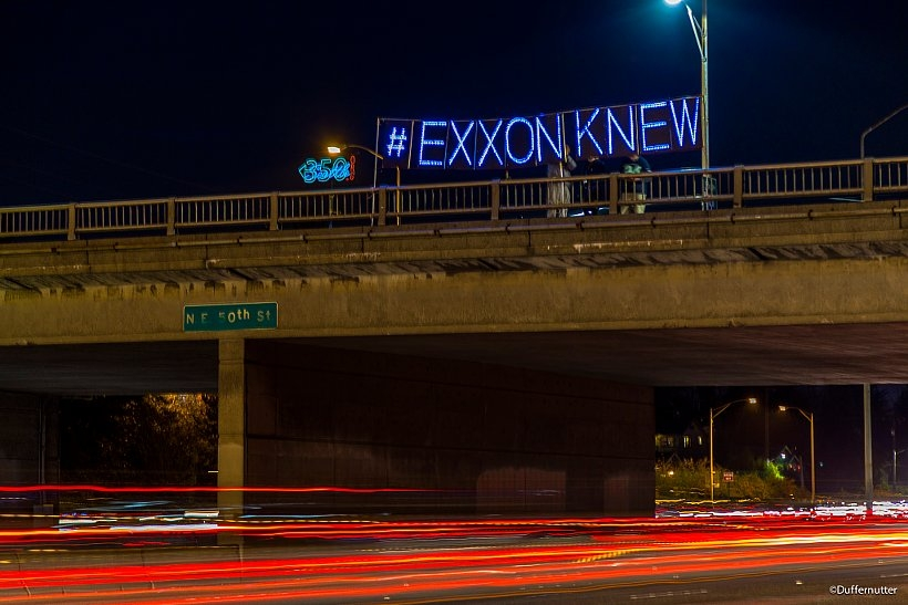 DeSmog illustration of Exxon Knew protest (photo: Duffernutter)
