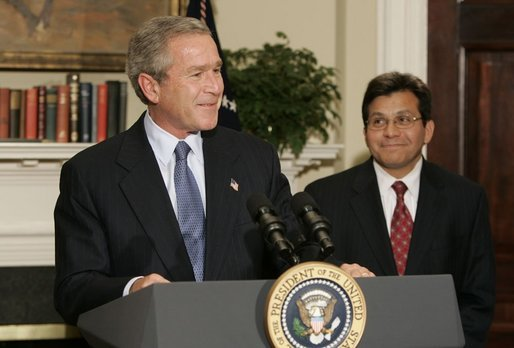 George Bush (left) announcing the nomination of Alberto Gonzales to be attorney general. (photo: White House)