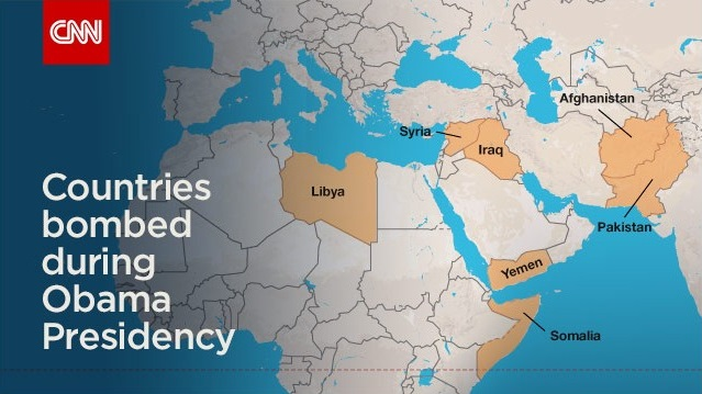 CNN graphic showing countries known to have been bombed by Barack Obama.