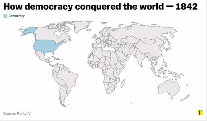 "Map of global ""democracy"" in 1842"