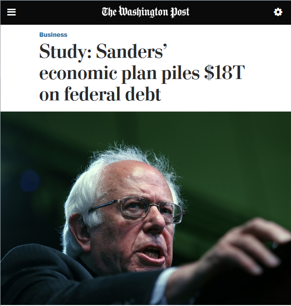 Washington Post: Study: Sanders' Economic Plan Piles $18T on Federal Debt