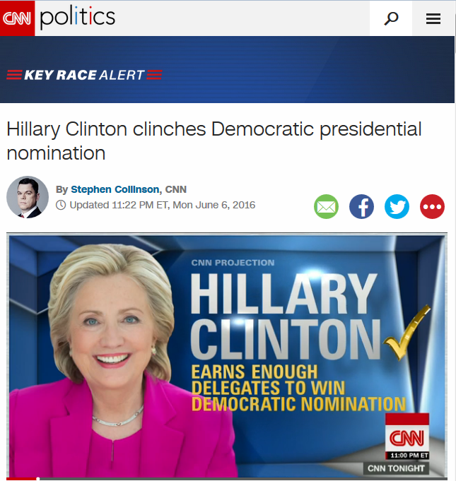 CNN: Hillary Clinton Clinches Democratic Presidential Nomination