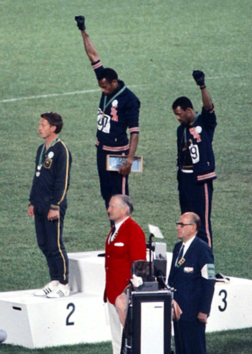 Peter Norman, John Carlos and Tommie Smith at the 1968 Olympics