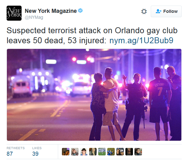 New York magazine tweet on Orlando