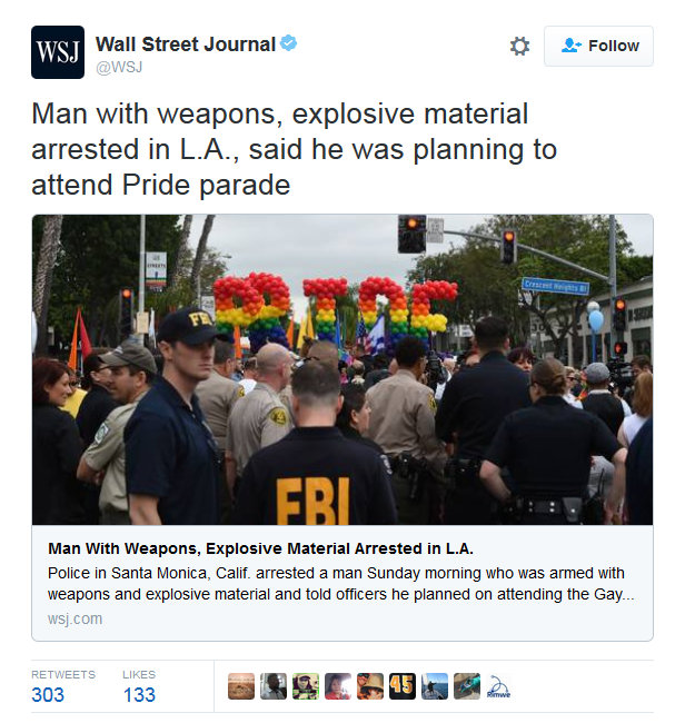 WSJ tweet on Santa Monica suspect
