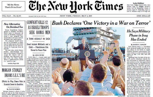 "New York Times ""Mission Accomplished"" front page"