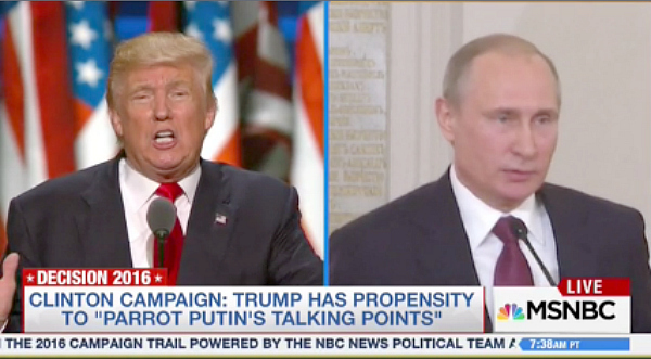 Donald Trump and Vladimir Putin on MSNBC.