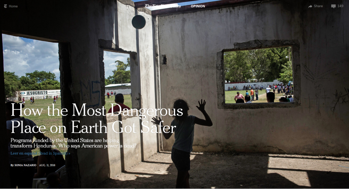 New York Times: How the Most Dangerous Place on Earth Got Safer