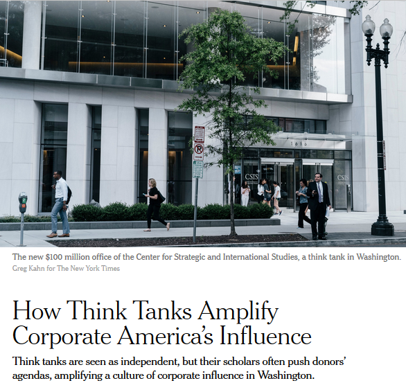 NYT: How Think Tanks Amplify Corporate America's Influence