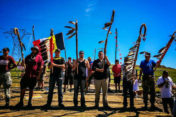 Protest against Dakota Access pipeline (photo: Little Redfeather Design/Honor the Earth via Indian Country Today)