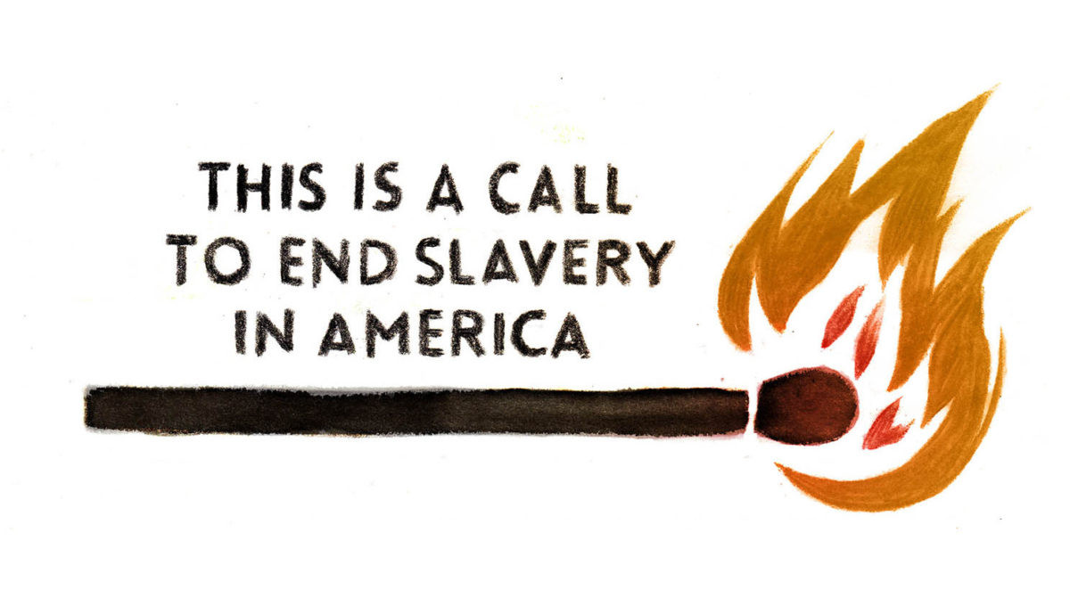 This is a call to end slavery in America. (graphic: Sofie Louise Dam, The Nib)