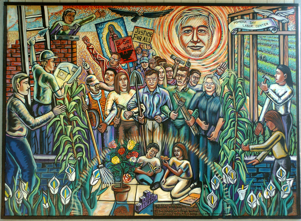 Mural, Pomona Day Labor Center (cc photo: Pitzer College)