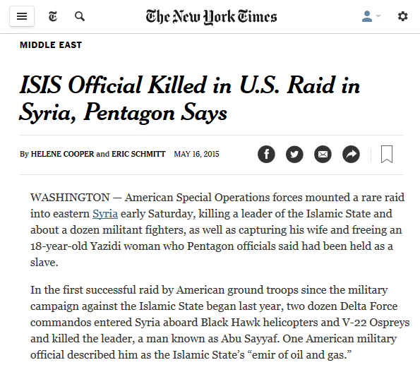 NYT: ISIS Official Killed in U.S. Raid in Syria, Pentagon Says