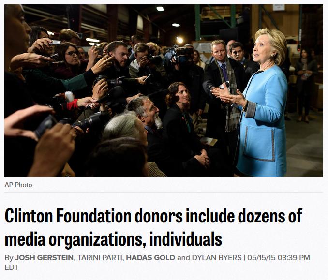Politico: Clinton Foundation donors include dozens of media organizations, individuals