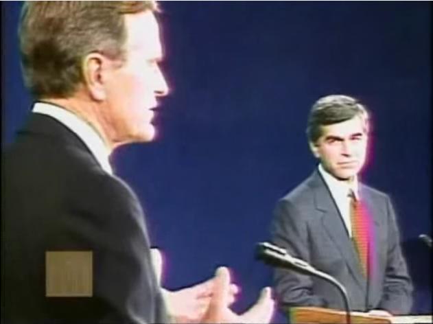 George Bush the elder debates Michael Dukakis (9/25/88) (image: Miller Center)