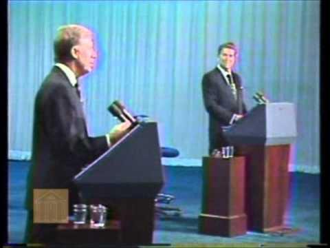 Carter debates Reagan (10/28/80) (image: Miller Center)