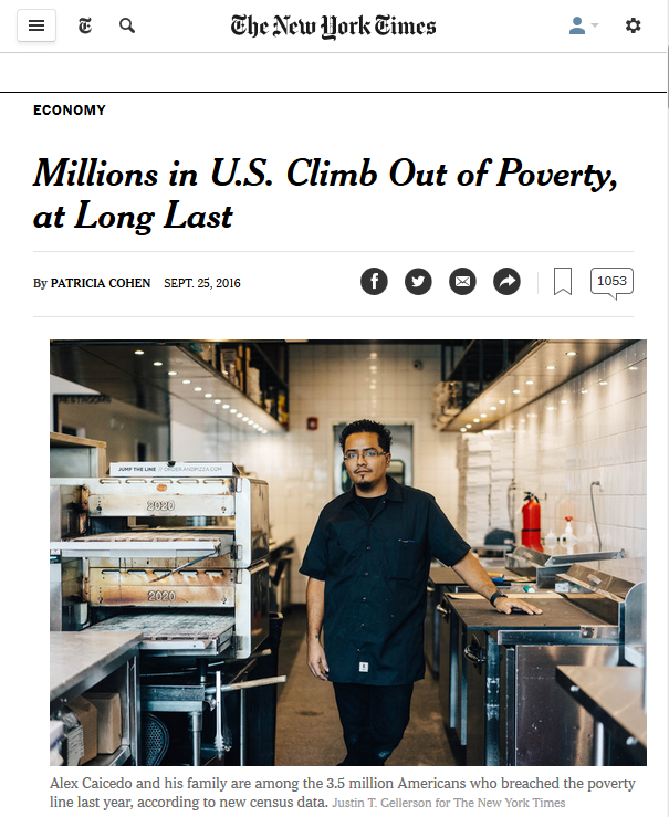 NYT: Millions in US Climb Out of Poverty