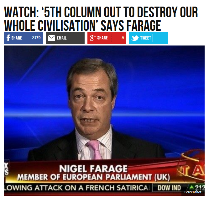 Breitbart: WATCH: '5th Column Out To Destroy Our Whole Civilisation' Says Farage