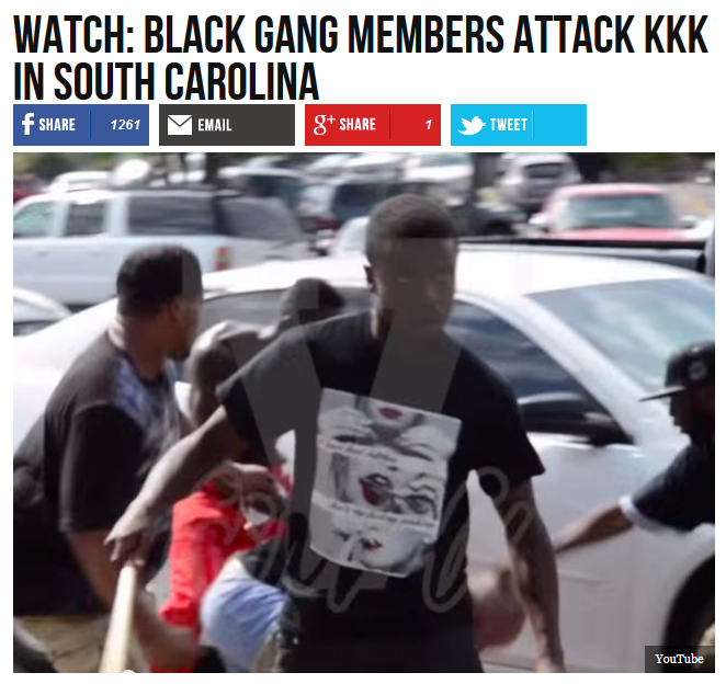 Breitbart: WATCH: Black Gang Members Attack KKK In South Carolina