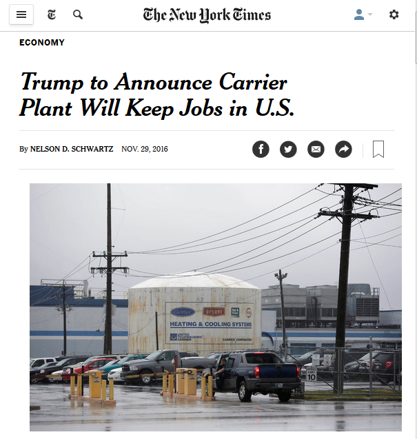 NYT: Trump to Announce Carrier Plant Will Keep Jobs in US