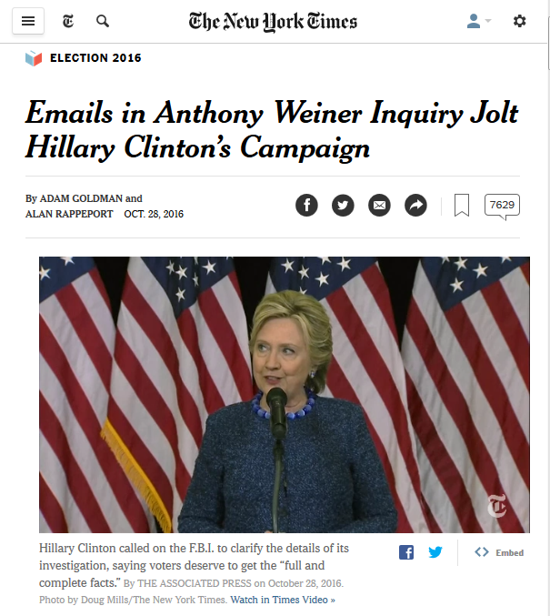 NYT: Emails in Anthony Weiner Inquiry Jolt Hillary Clinton's Campaign
