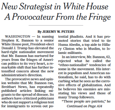 New York Times: New Strategist in White House a Provocateur From the Fringe