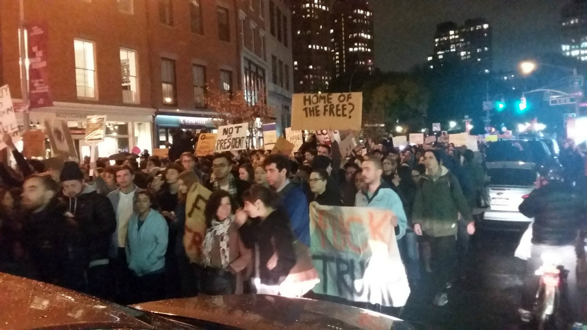 Protesters marching from New York City's Union Square on November 9, 2016. (photo: Jim Naureckas)