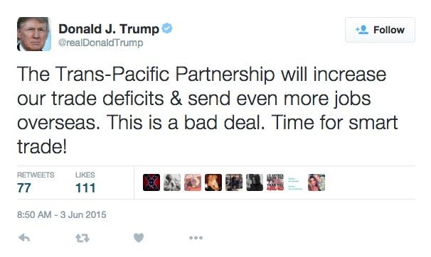 Donald Trump tweets against TPP
