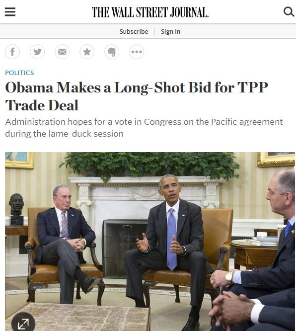 WSJ: Obama Makes a Long-Shot Bid for TPP Trade Deal