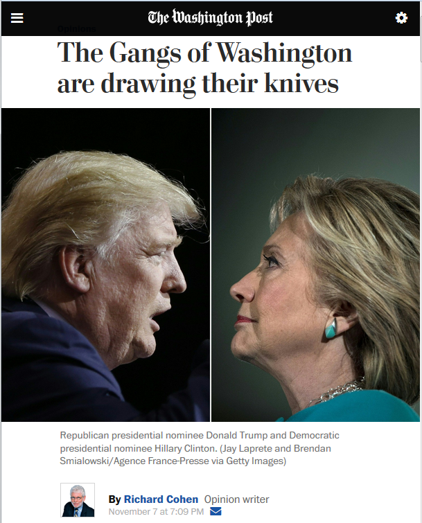 WaPo: The Gangs of Washington Are Drawing Their Knives