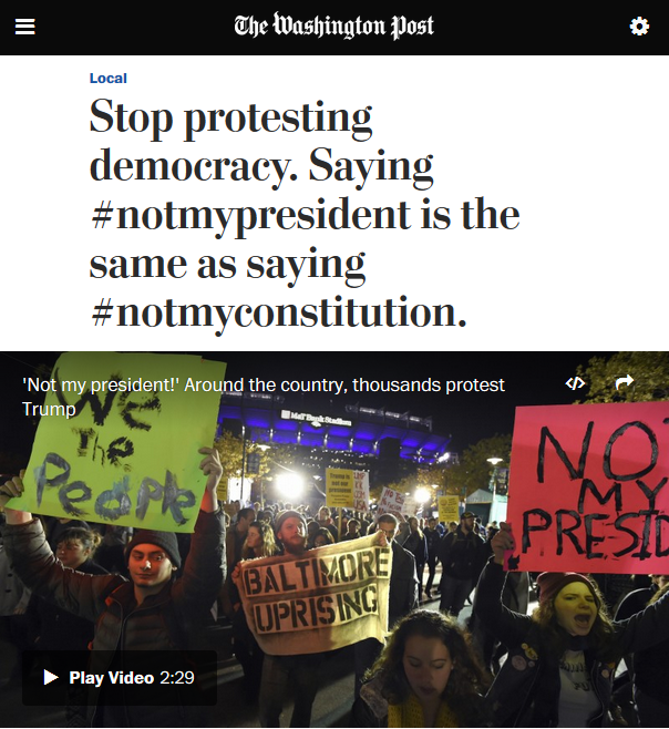Washington Post: Stop Protesting Democracy