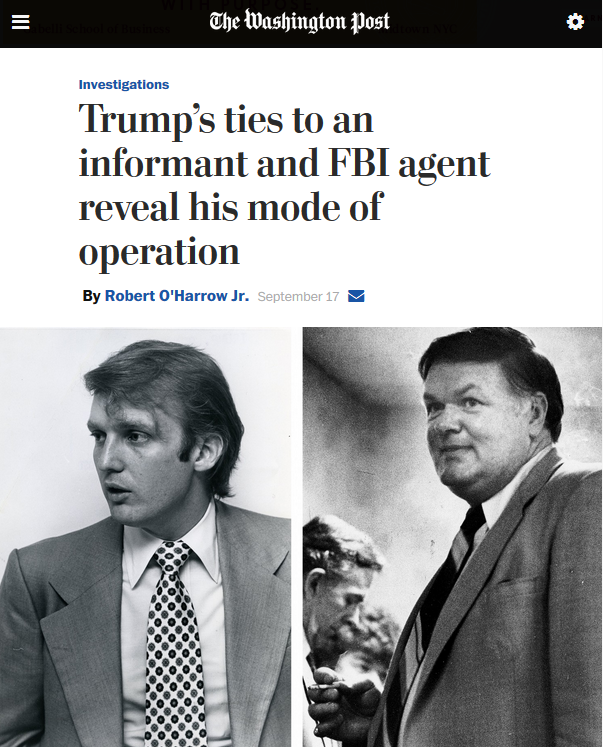 WaPo: Trump's ties to an informant and FBI agent reveal his mode of operation