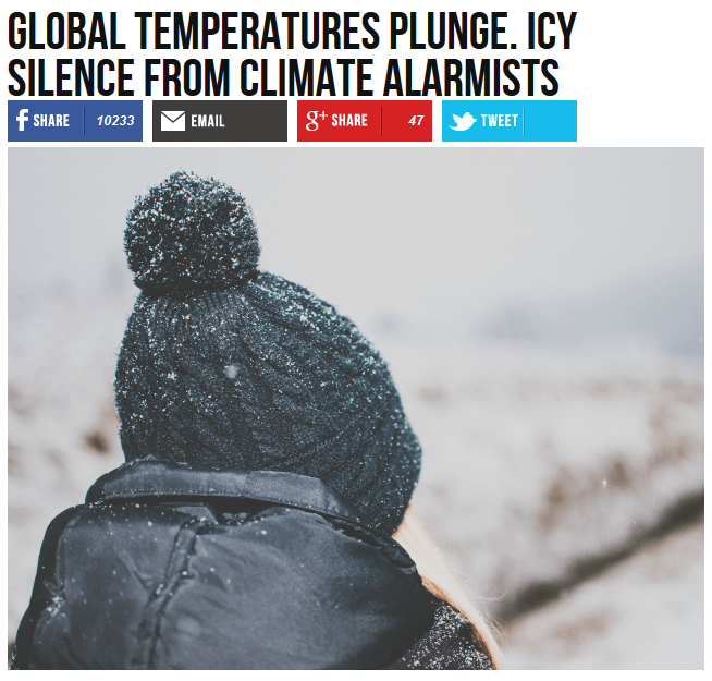 Breitbart: Global Temperatures Plunge, Icy Science From Climate Alarmists