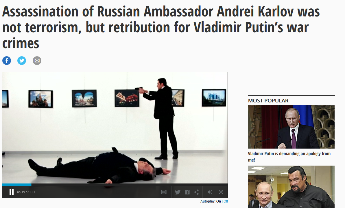 Daily News: Assassination of Russian Ambassador Andrei Karlov was not terrorism, but retribution for Vladimir Putin's war crimes