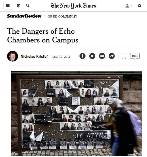 New York Times: The Dangers of Echo Chambers on Campus