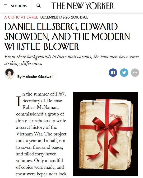 New Yorker: Daniel Ellsberg, Edward Snowden, and the Modern Whistle-Blower