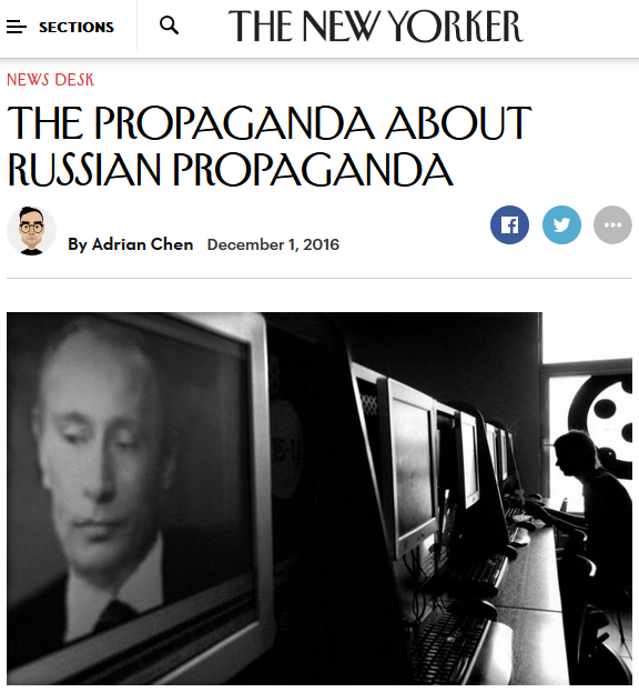 New Yorker: The Propaganda About Russian Propaganda