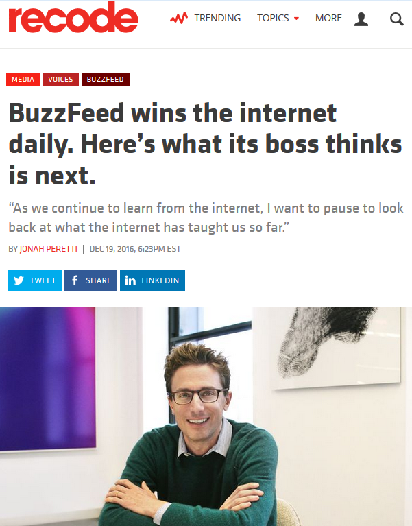ReCode: BuzzFeed wins the internet daily. Here's what its boss thinks is next.