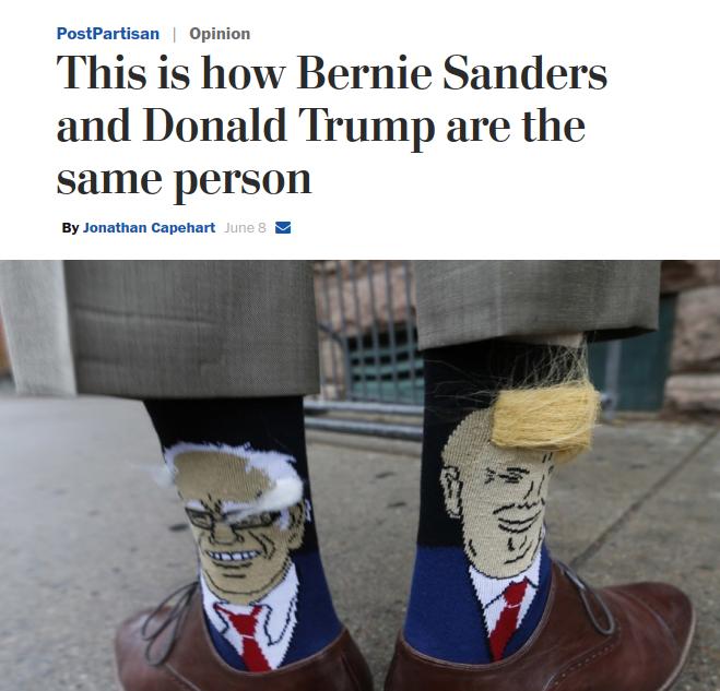 Washington Post: Bernie Sanders and Donald Trump Are the Same Person