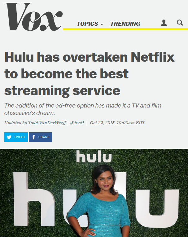 Vox: Hulu has overtaken Netflix to become the best streaming service