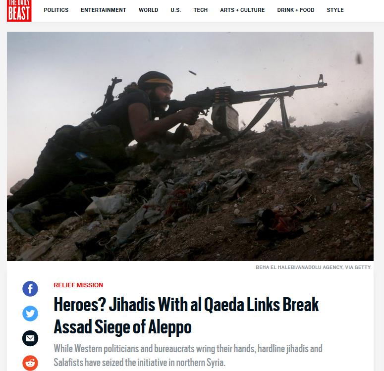 Daily Beast: Heroes? Jihadis With al Qaeda Links Break Assad Siege of Aleppo