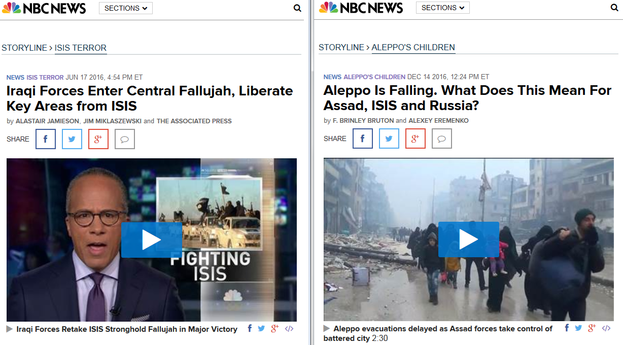 Contrasting NBC headlines on the recapture of Fallujah, Aleppo