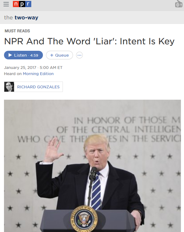 NPR And The Word 'Liar': Intent Is Key