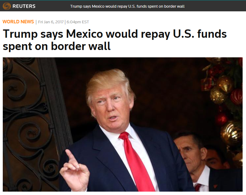 Reuters: Trump says Mexico would repay U.S. funds spent on border wall