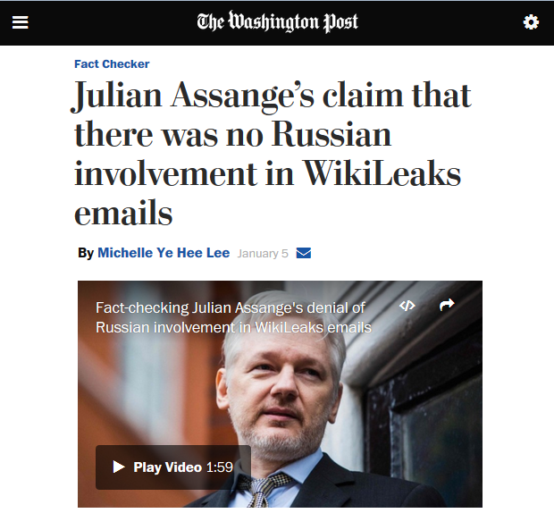 Washington Post: Julian Assange's claim that there was no Russian involvement in WikiLeaks emails
