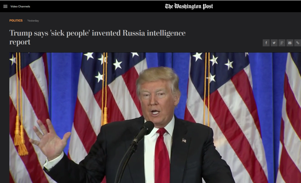 WaPo: Trump says 'sick people' invented Russia intelligence report