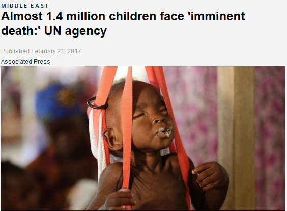AP: Almost 1.4 million children face 'imminent death:' UN agency