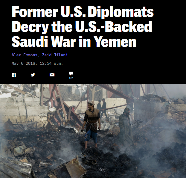 Intercept: Former U.S. Diplomats Decry the U.S.-Backed Saudi War in Yemen